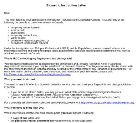 Biometrics Instruction Letter