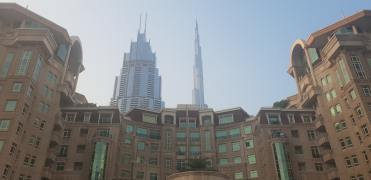 Different views of the Al Murooj Complex, with The Address and Burj Khalifa in the background